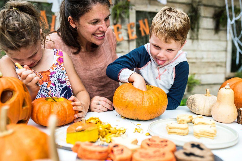a family craving pumpkins before halloween DIY