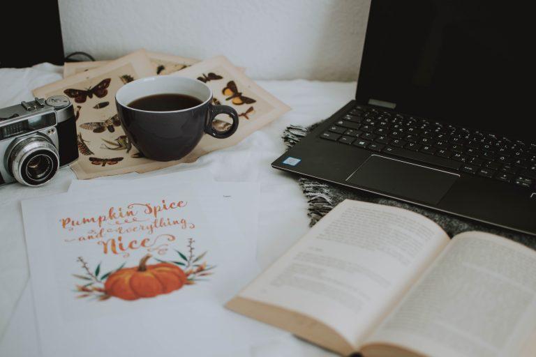 laptop book postcard cozy
