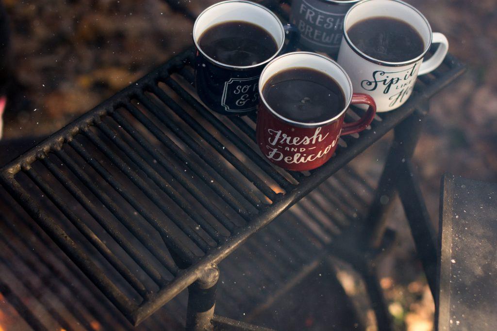 cozy hot drinks mugs coffee outside