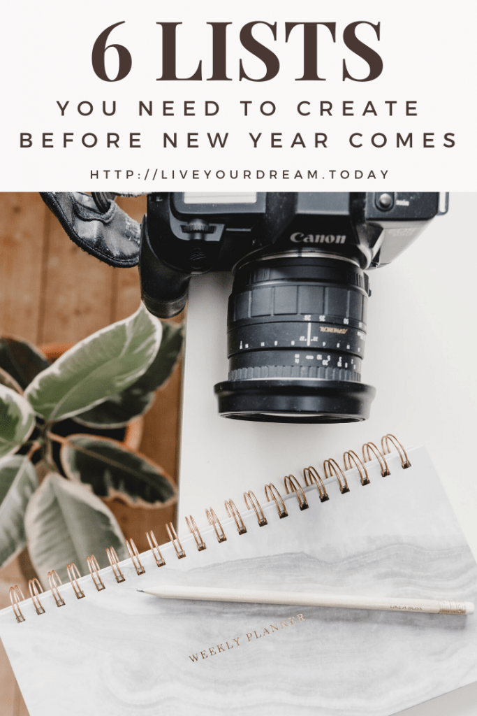 6 lists you need to create before new year comes
