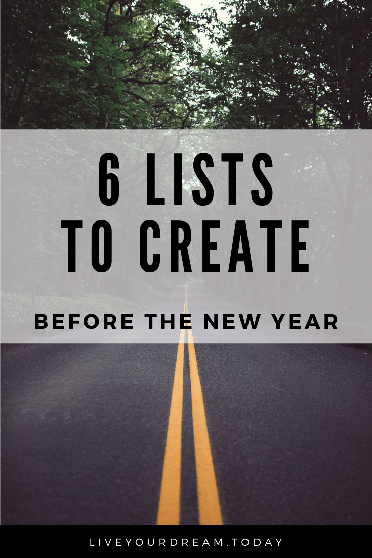 6 lists you need to create before new year