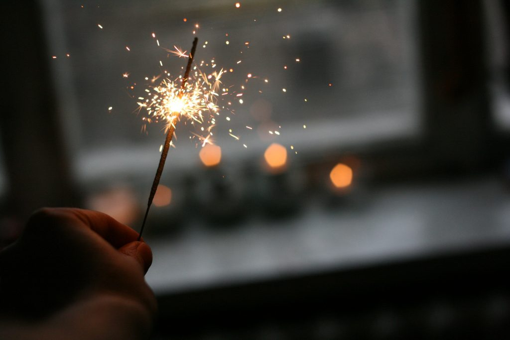 sparkler near the window