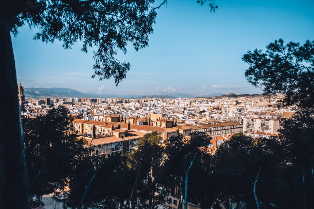 Amazing city view of Malaga from the above.