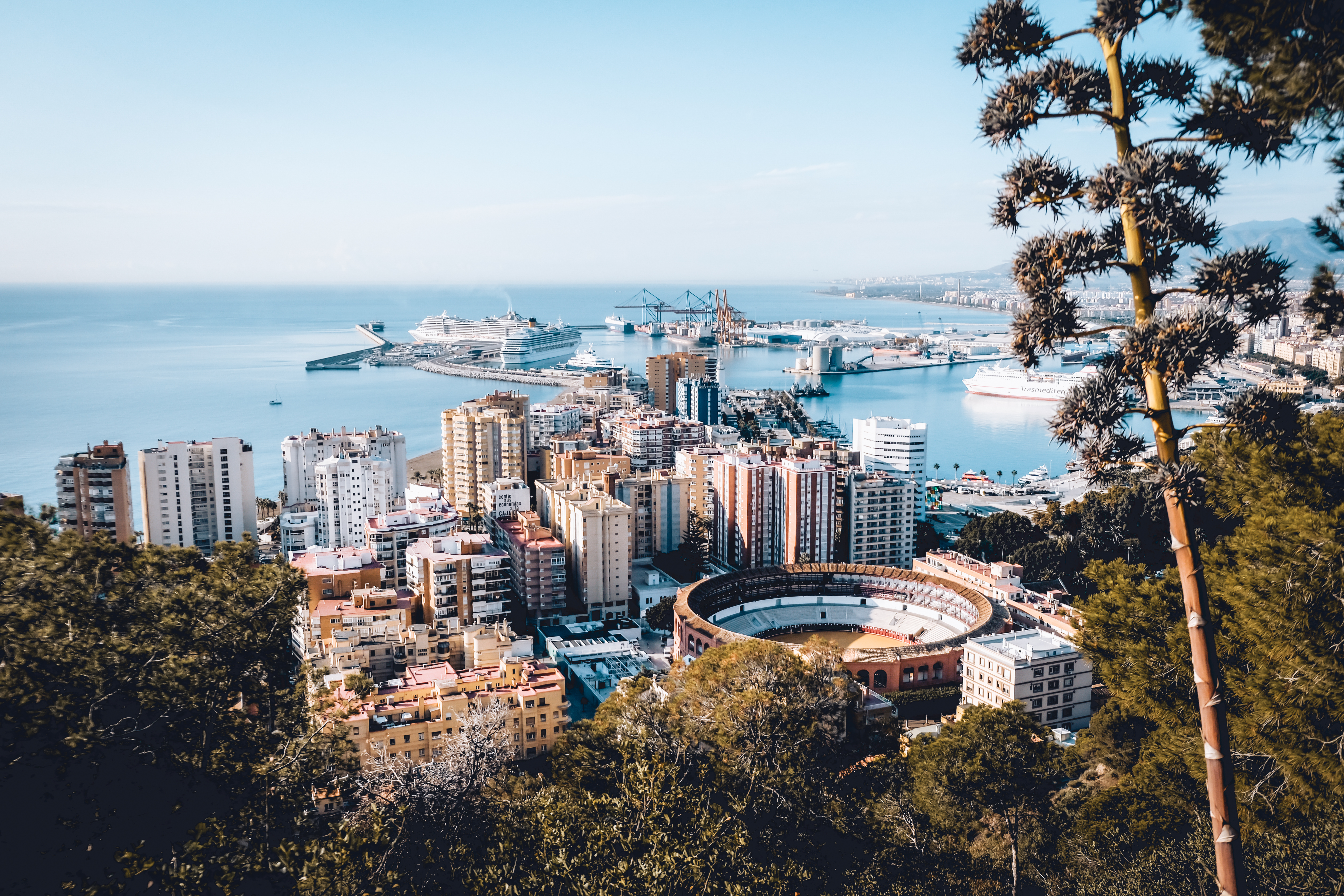 Breathtaking city view on a bullring an port in Malaga.