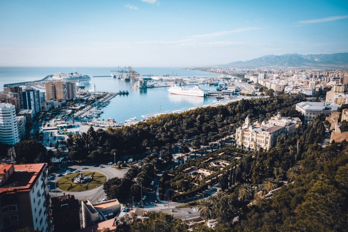 Breathtaking city view of Malaga from the best viewpoint in Malaga.