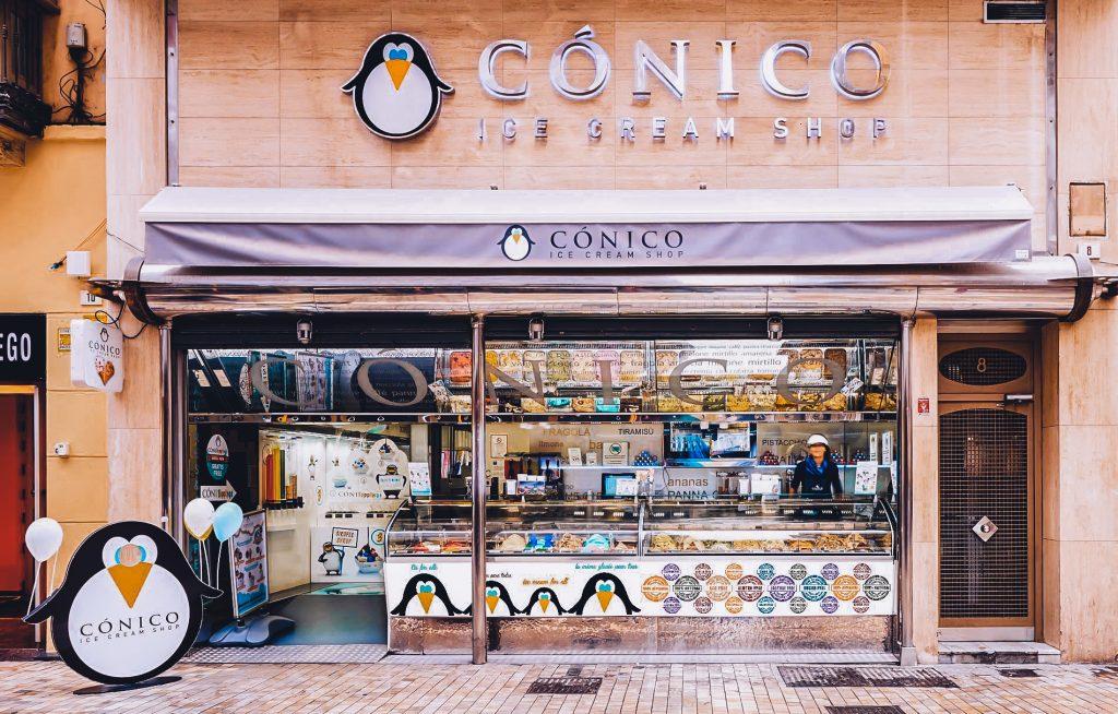 Conico ice cream shop facade in Malaga