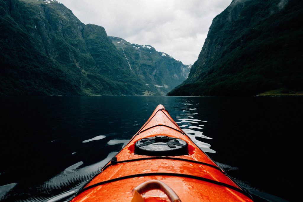 kayaking in the mountains