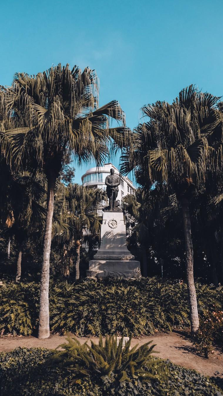 Beautiful monument in the botanical garden Parque de Malaga.