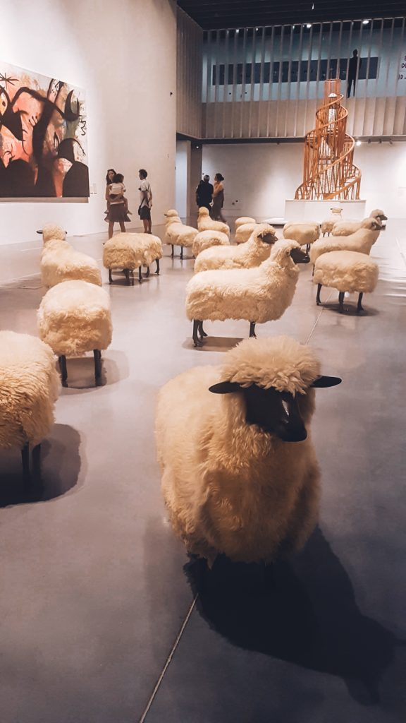 Sheeps exhibition in the contemporary art museum of Malaga's Centre Pompidou at the Muelle Uno beachfront passage.
