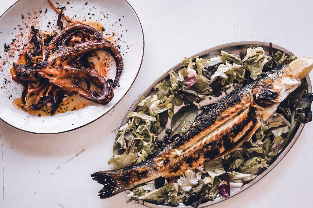 Fish and octopus in El Cabra, Malaga