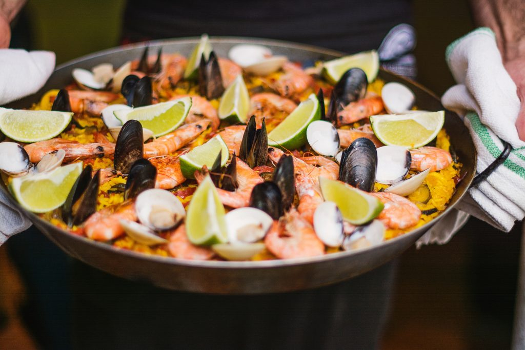 seafood paella in Malaga with shrimps and mussels