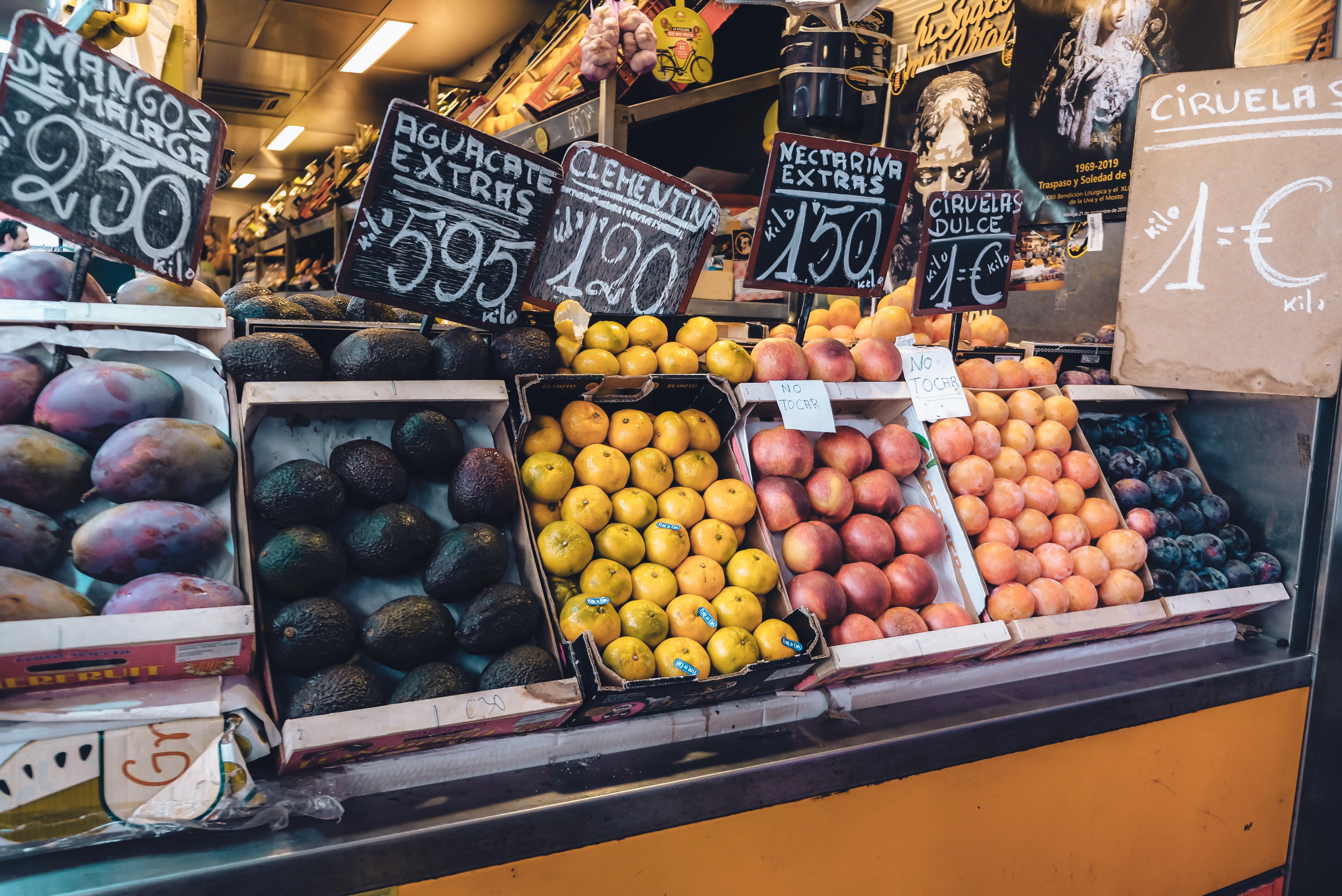 Fruit selection at the Atarazanas farmer's market in Malaga.