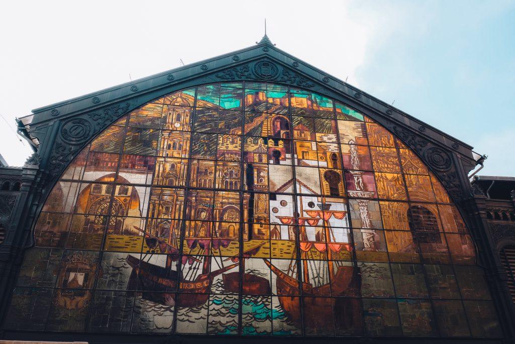 Atarazanas market in Malaga with a beautiful facade mural.