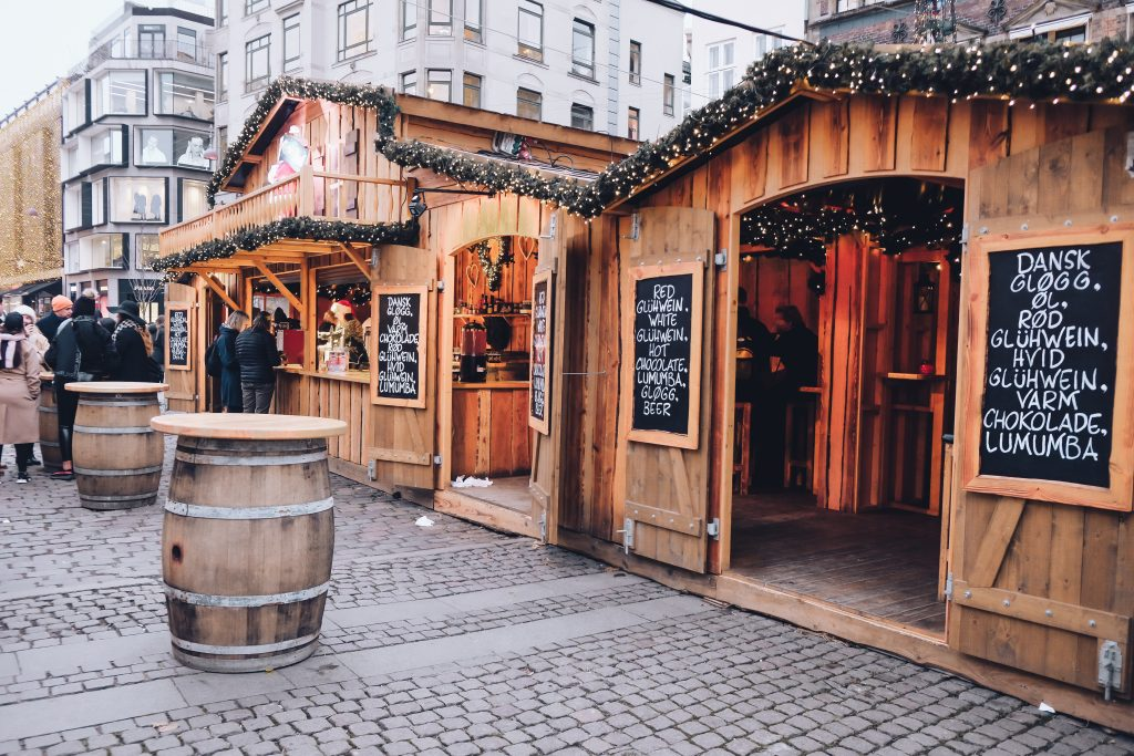 Højbro Plads Christmas booth with hot chocolate
