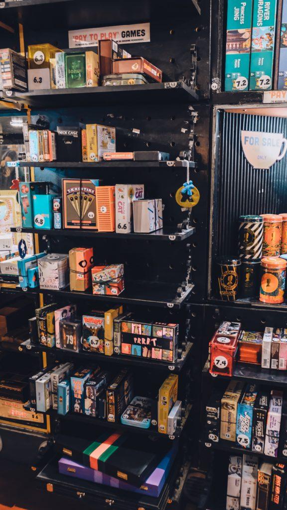 bastard cafe copenhagen board games shelf