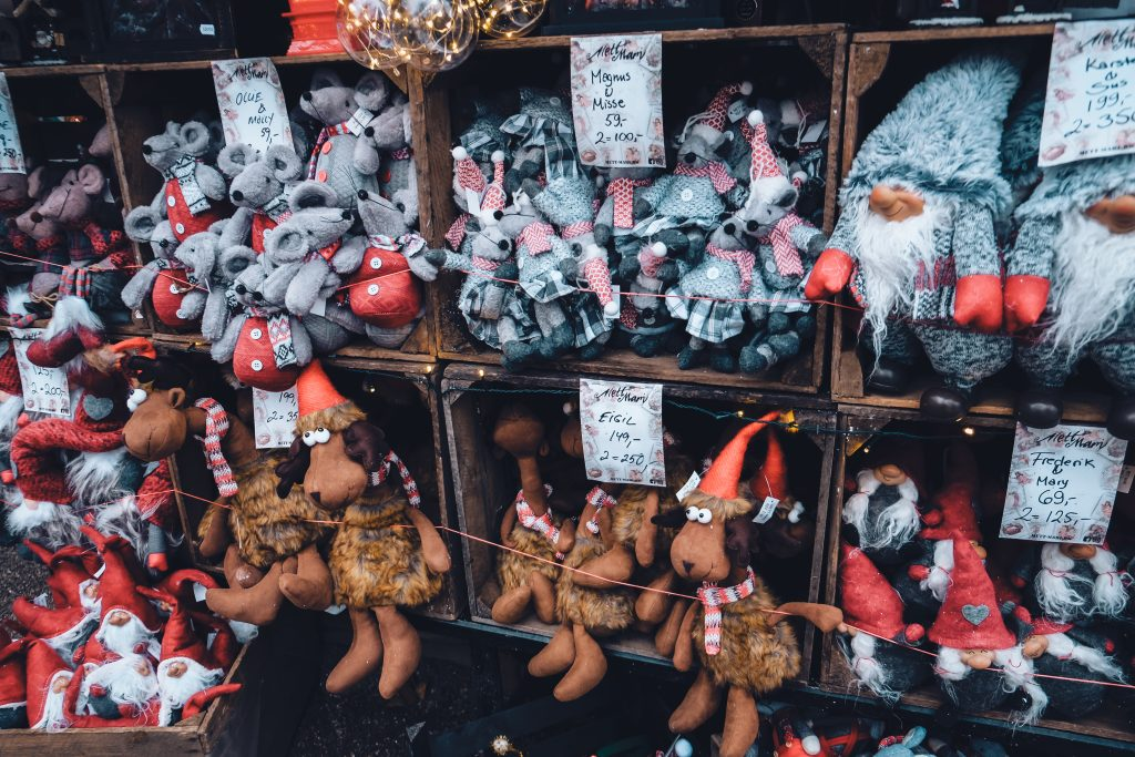 stuffed toys at christmas market in copenhagen