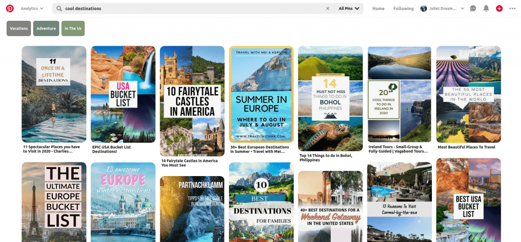 pinterest search for cool destinations