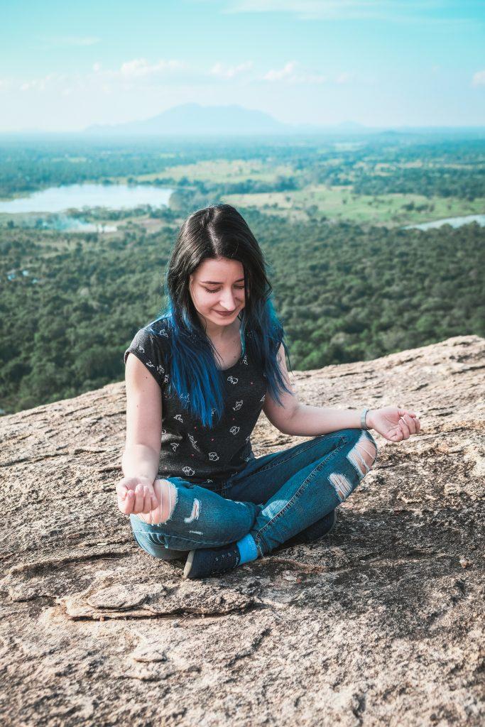 meditating at pidurangala rock sri lanka