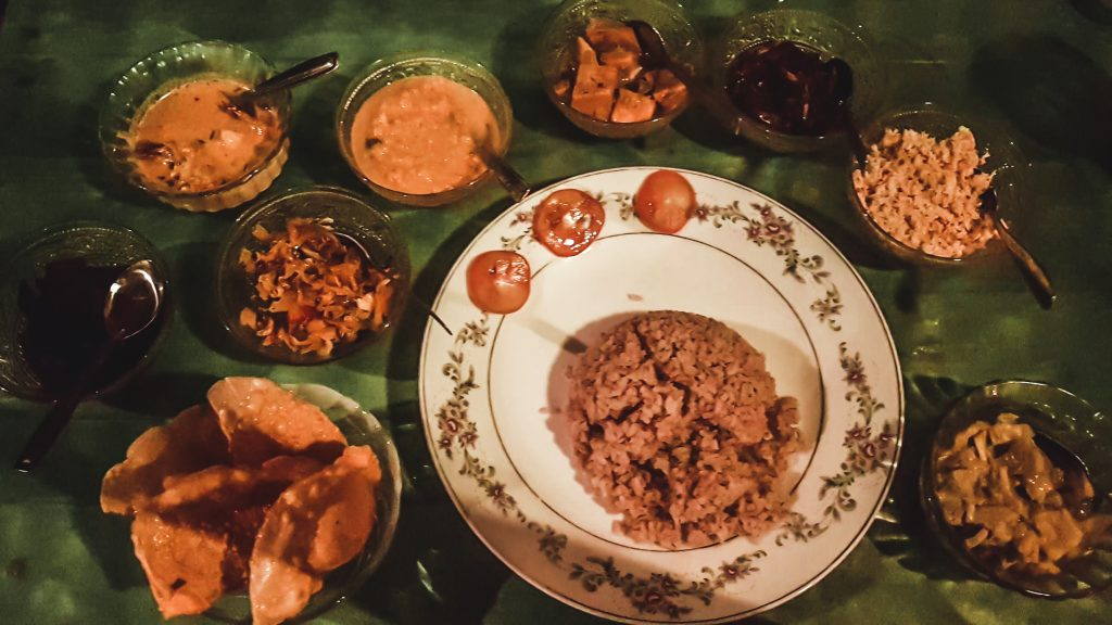 typical sri lankan food - rice and curry