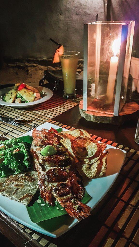 fresh cooked fish for dinner in sri lanka restaurant