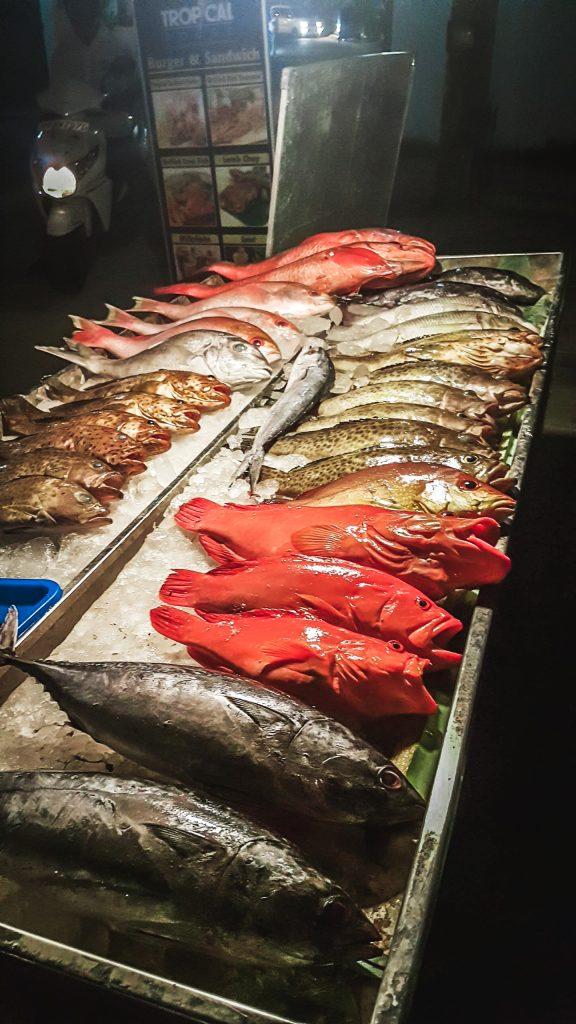 fresh raw fish for dinner in sri lankan restaurant