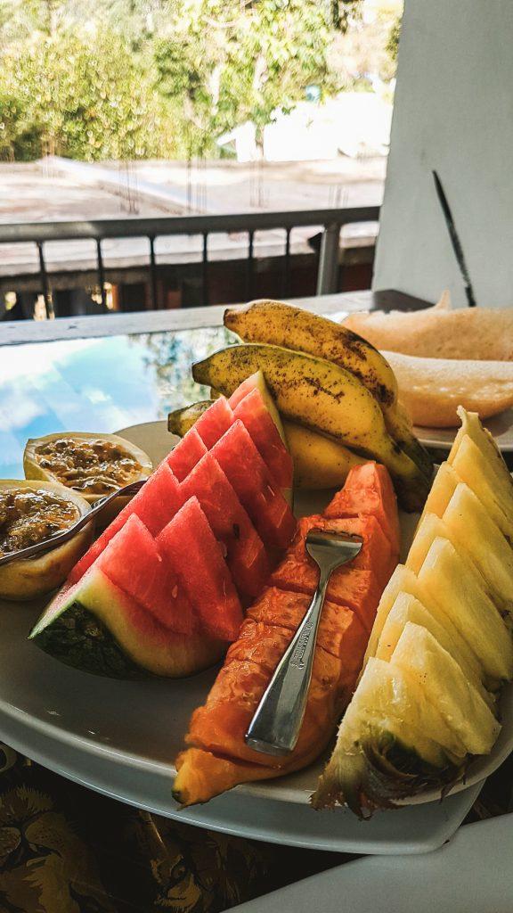 typical fruit plate for breakfast sri lanka
