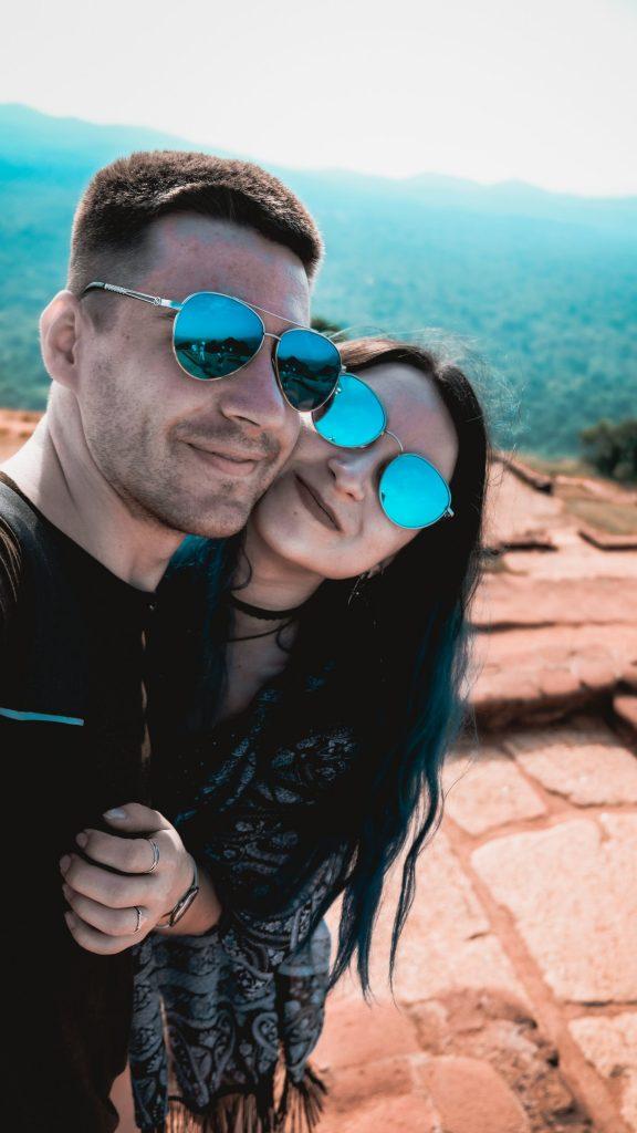 juliet dreamhunter and her husband on top of lion rock in sri lanka