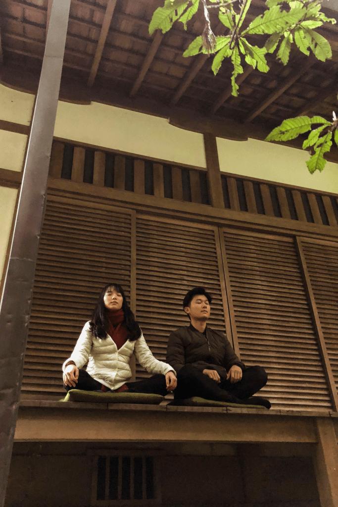 meditation with japanese buddhist monk