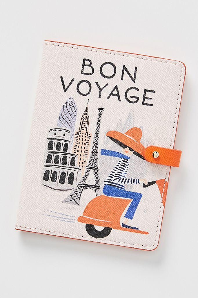 bon voyage girly passport cover