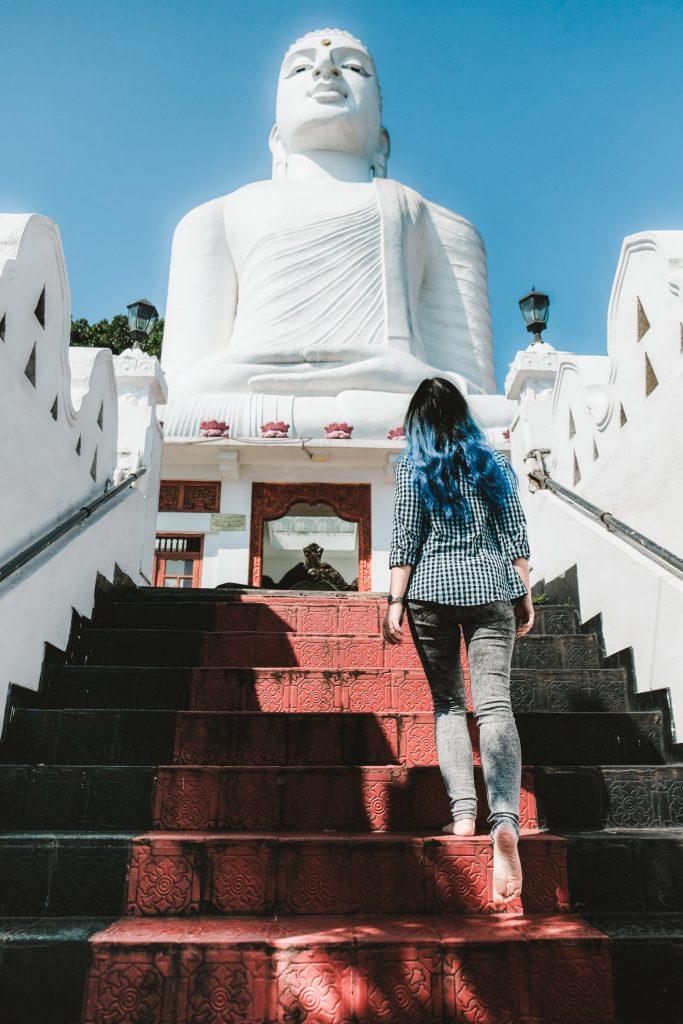 kandy sri lanka white buddha statue