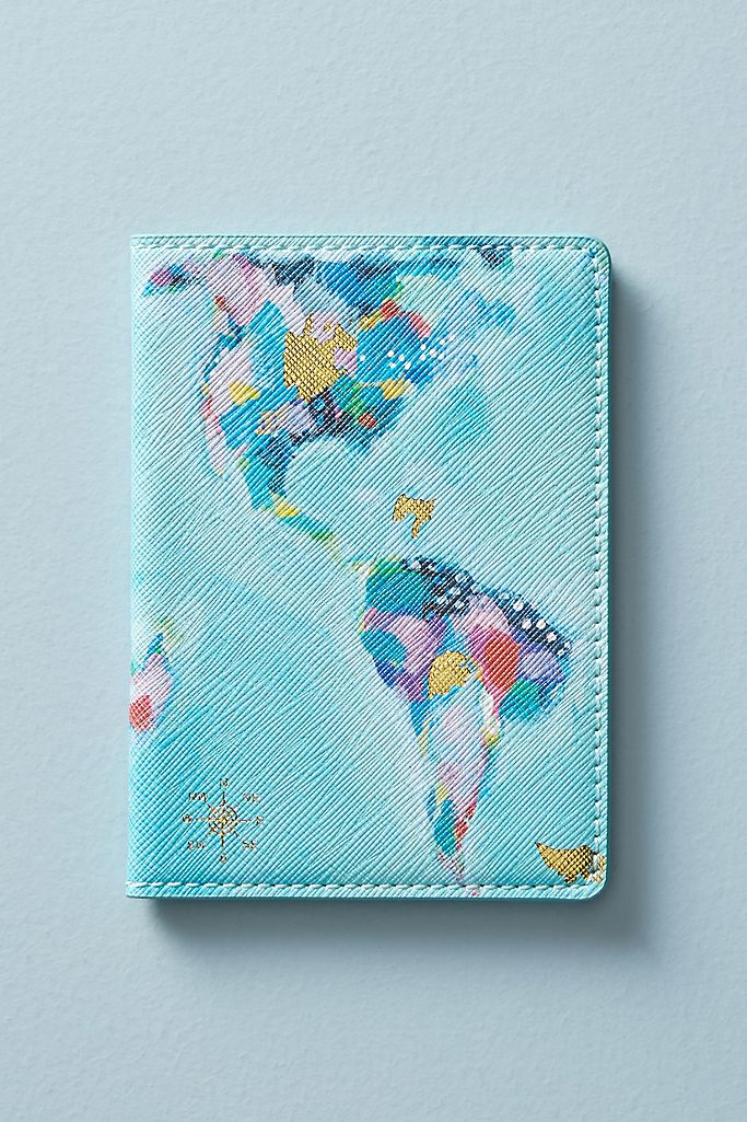 map travel passport holder