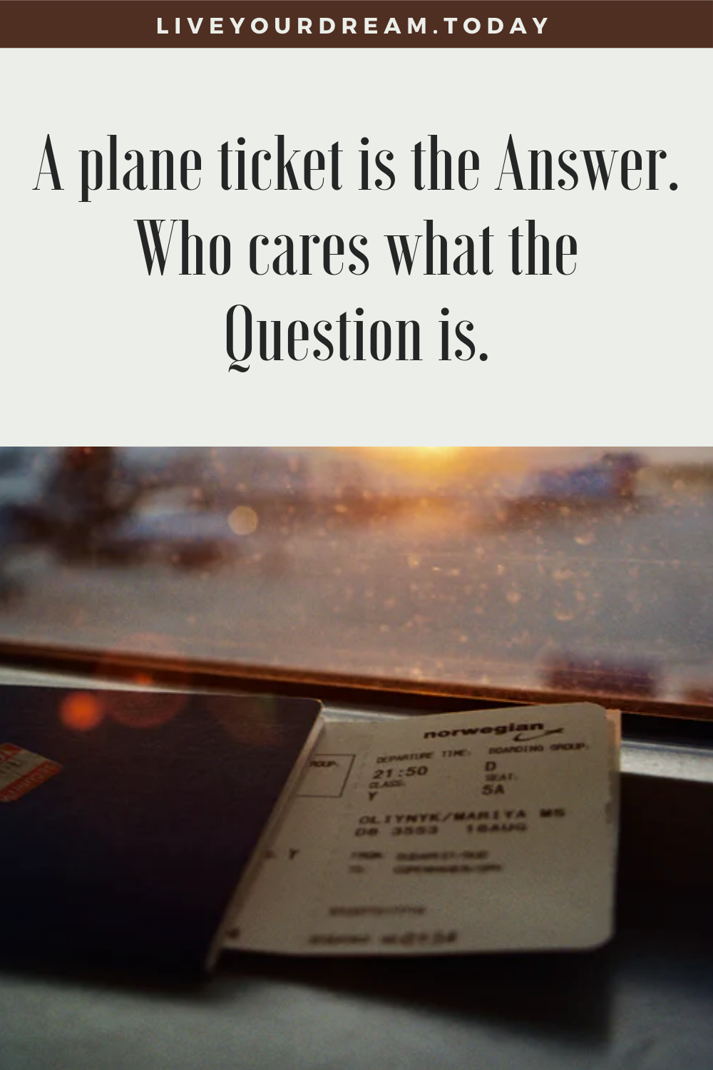 funny travel quote: plane ticket is the answer