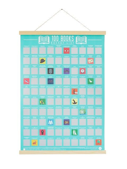 100 books scratch poster for bookworms