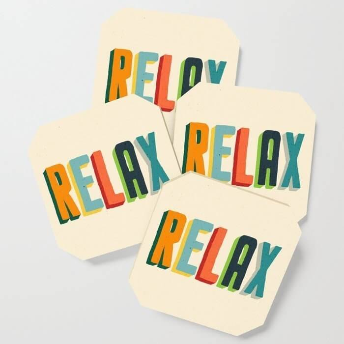 relax coaster set makes a cheap motivational appreciation gift for your employees