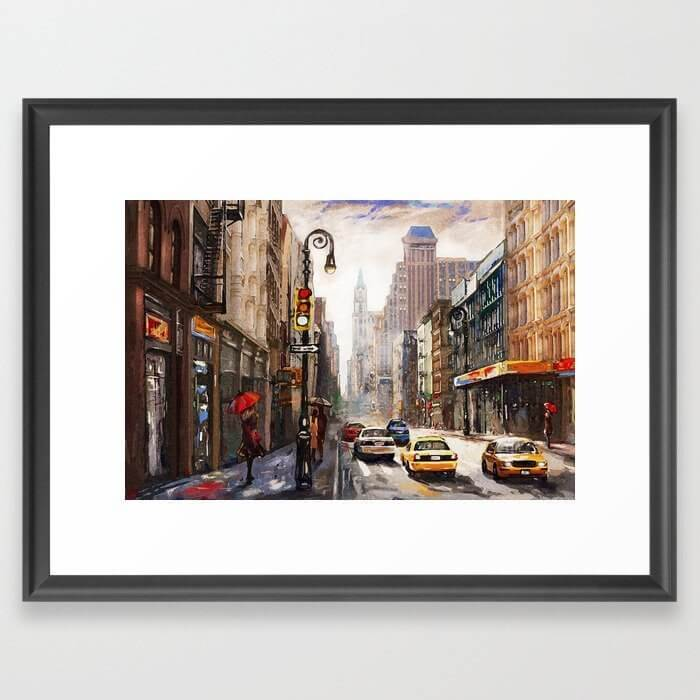 street view of new york art print is a nice gift for frequent business traveler