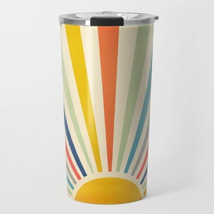 retro colorful travel mug